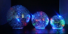 Set of 3 Illuminated LED colorful light glass sphere ball global