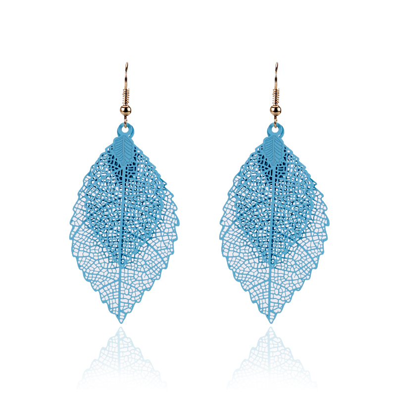 New-Fashion-Punk-Dangle-Earrings-for-Women-Colorful-Alloy-Drop-Hanging-Long-Double-Leaf-Earring-Gold