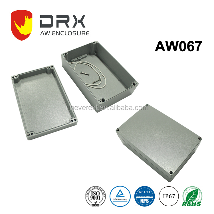 ip67 outdoor Die Cast extrusion electrical control battery box Aluminium Waterproof enclosure with Cable Gland