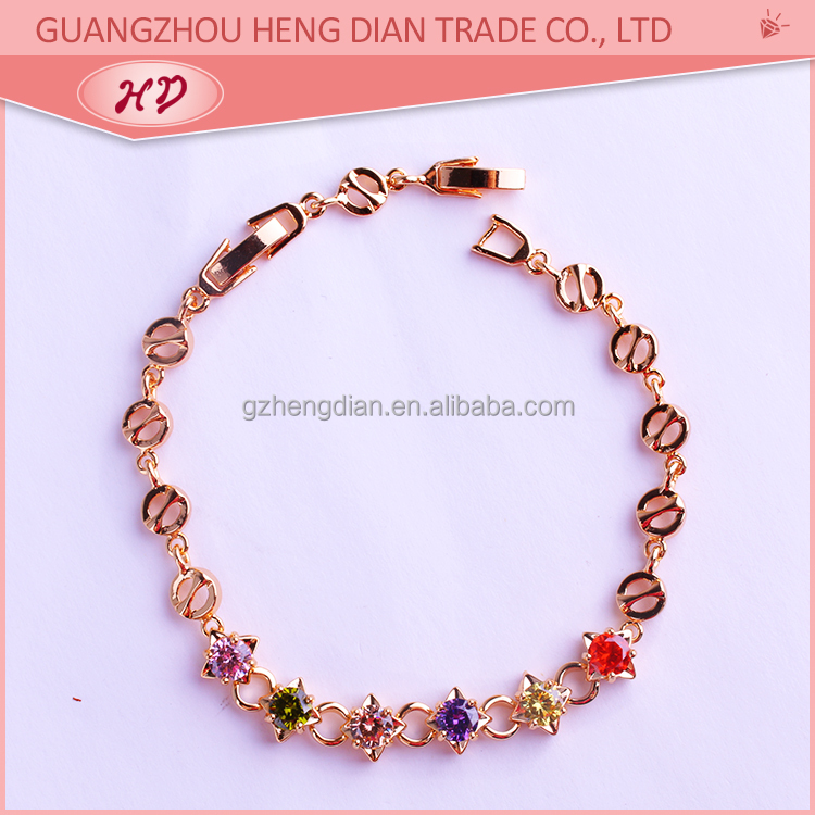Factory direct wholesale New fashion cheap jewelry,18k gold plated brass one dollar bracelet for girl