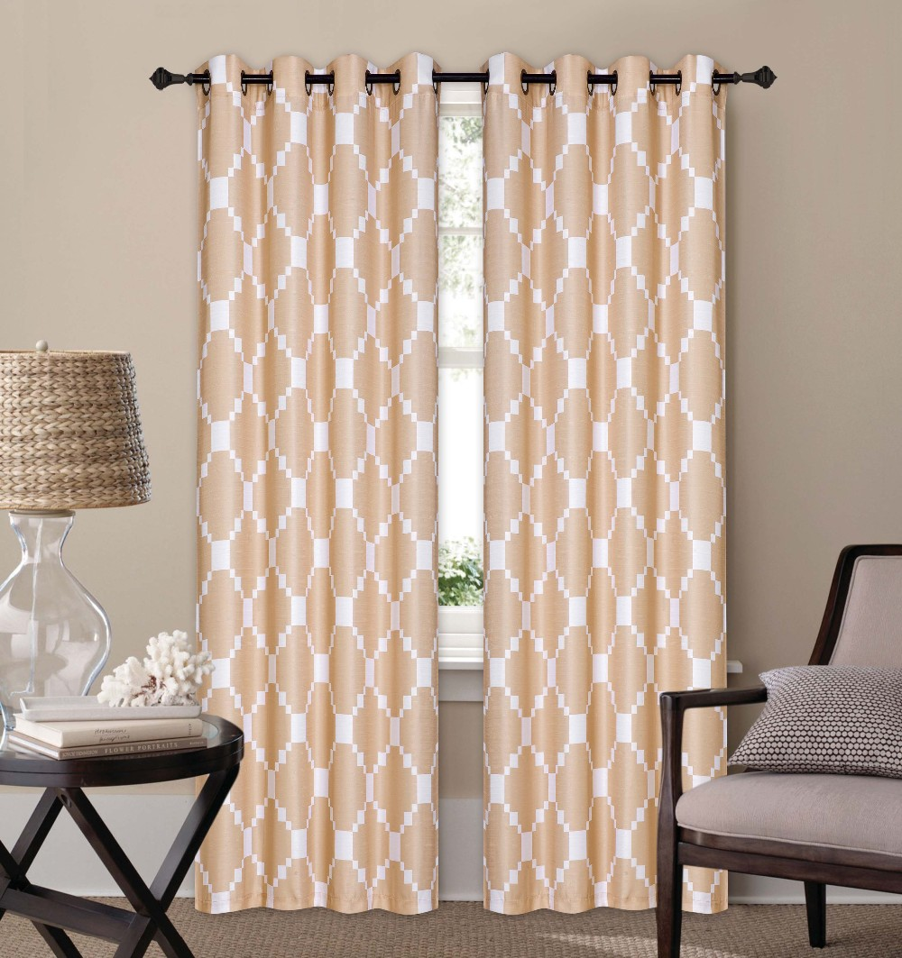 2PCS POLYESTER PRINTED FANCY DECOR WINDOW CURTAINS