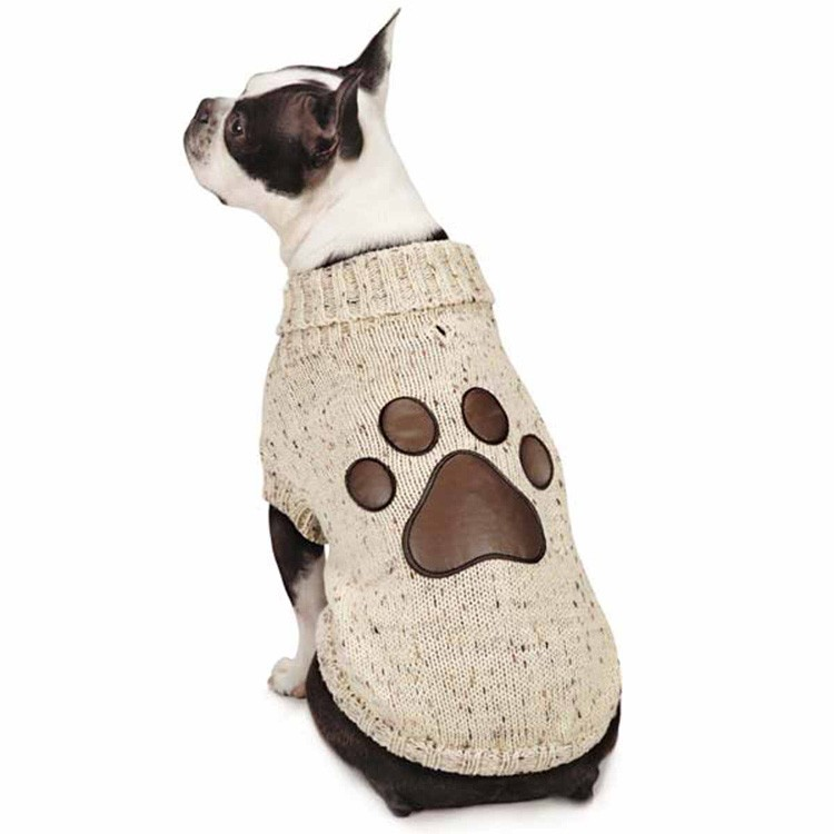 Eco-friendly pet clothing cotton hand knit dog sweater with leather claws