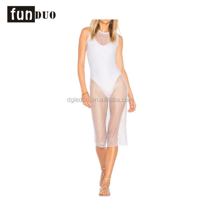 79% nylon 21% spandex mesh sexy beach overpull hooded dress tank top