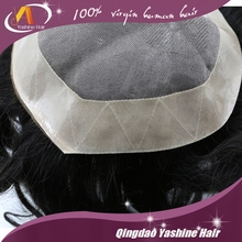 New wig human hair for men hair pieces 7*9inch base size natural hairline men toupee with gray hair in stock