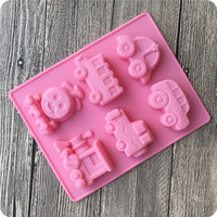 Eco-friendly Car train Babay toys shape silicone molds cakes