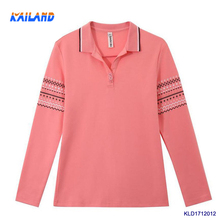 New arrival classic blank polo shirt unique design ladies polo collar t-shirt 100% cotton long sleeve t shirts for girls