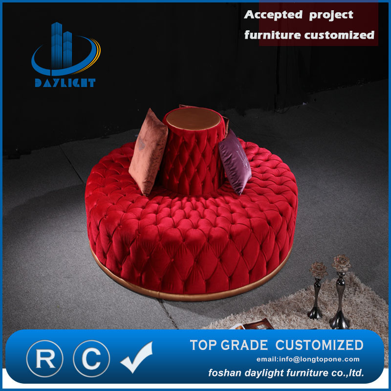 Night club customized furniture luxury bar set furniture design red round sofa