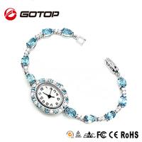 Alibaba Express Fashion Ladies Women Brand Quartz Shiny Glass Crystal Beads Slim Stone Vintage Bracelet Watch