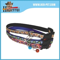 new arrival embroidery pattern with ribbon nylon hands free high-strength collar & leash