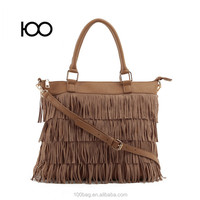 Fashion fringe suede tassel bag wholesale handbag brown colors tassel handbags