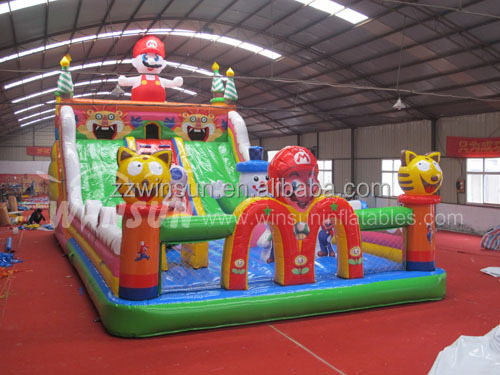 WINSUN CE UL GS PVC durable Cartoon Theme inflatable pool slide with climbing wall