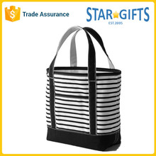Eco Zebra Stripes Reusable Canvas Tote Shopping Bag With Custom Logo