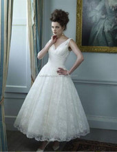 SJ1854 white v-neck high quality short lace wedding dress