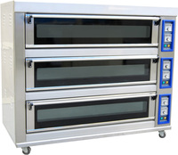 Bakery bread equipment with 3 deck 9 trays commercial lpg gas baking oven indonesia