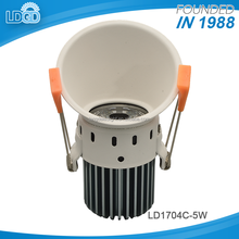 Die casting factory price super bright D81mm X H125mm led cob 5w downlight with 80mm cut out