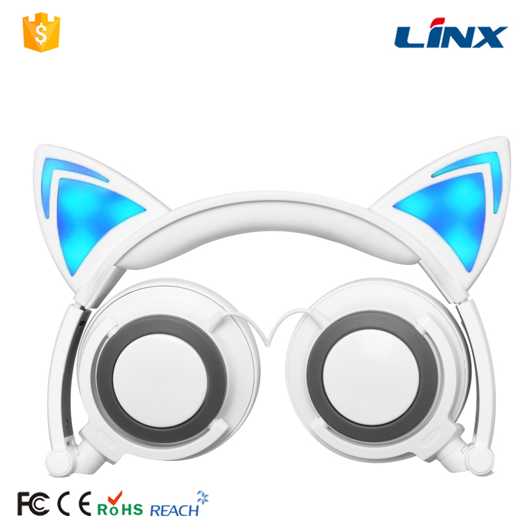 Factory Wholesale 40mm Unit Drivers Blinking Cat Headphones With LED Lights