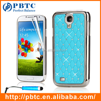 Set Screen Protector Stylus And Case For Samsung Galaxy S4 I9500 , Sky Blue Luxury Bling Diamond Crystal Case Cover