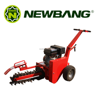 Farm gasoline trencher with 9 blades for trenching soil