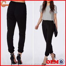 Loose fit elasticated waistband trousers,cuff bottom finish woman trousers