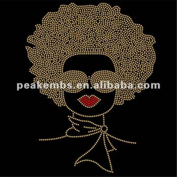 Fashion Gold Afro Lady Iron on Custom Rhinestone Transfer