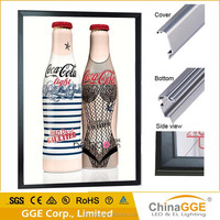 Slim Snap Aluminum Frame Acrylic Build LED Light Box for Coca Cola Display