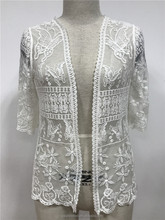 Cardigan Embroidered White Lace Crochet Blouses for Women