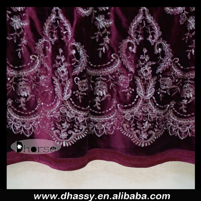 New product african royal purple embroidery velvet lace fabric for kurtis