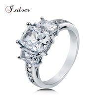 Wholesale thailand 925 sterling silver CZ 3 Stone ladies unique wedding rings R500370