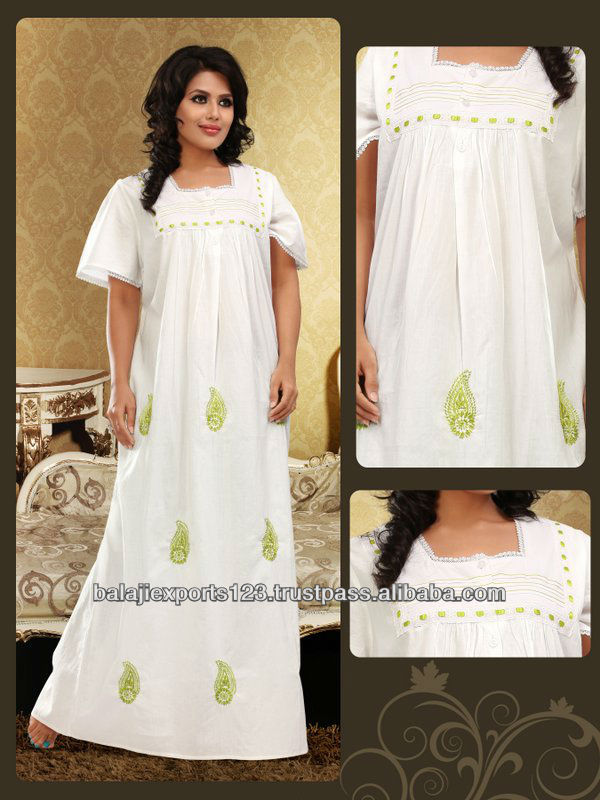 PLUS SIZE NIGHTWEAR cotton Embroidery Nighty - Embroidered Night Gowns