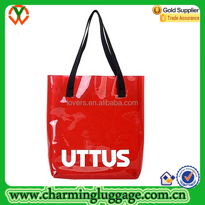 Vinyl clear plastic beach tote bag pvc handle bags