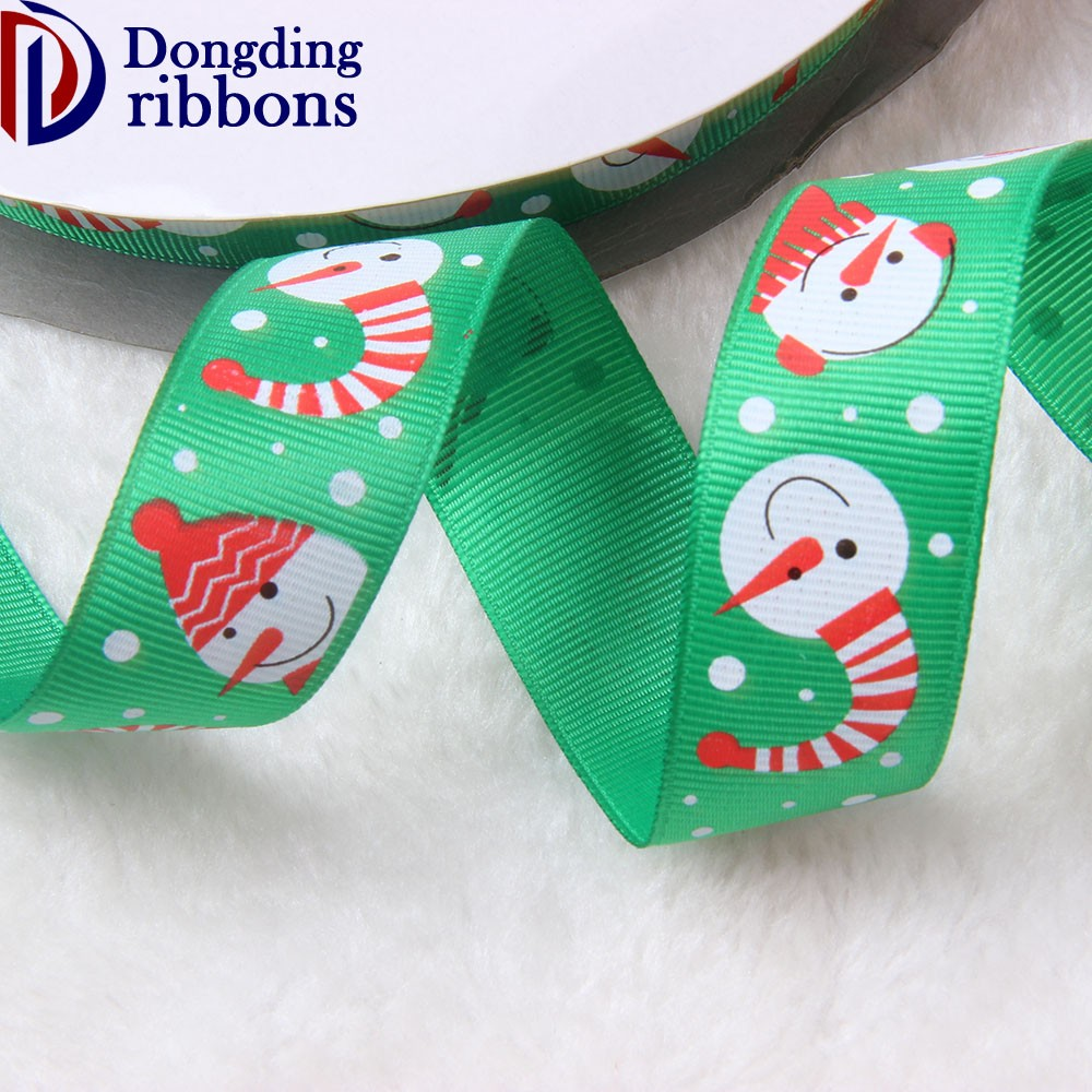 "Beautiful widely used 1"" inch printed polyester grosgrain ribbon ,elegant outdoor snowman christmas gift decorative ribbon"
