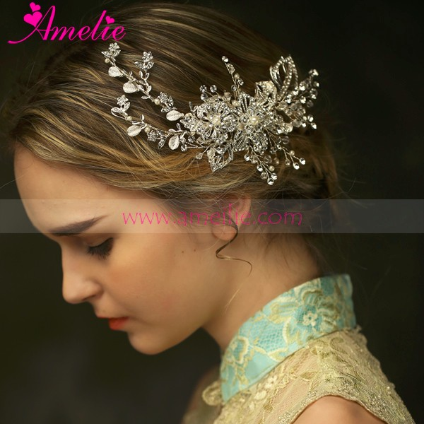 Asian Bridal Hair Jewelry Type and Crystal Rhinestone Main Stone Bridal Hair comb