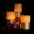 Set of 3 Led Wax Flameless Candle,Battery Operated LED Pillar Candles
