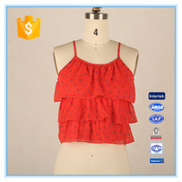 Spaghetti Latest Design Girls Crop Top With 3 Layers Ruffles