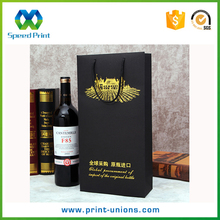 Strong string high quality foil gold wine packaging gift paper bag for wine bottle packaging