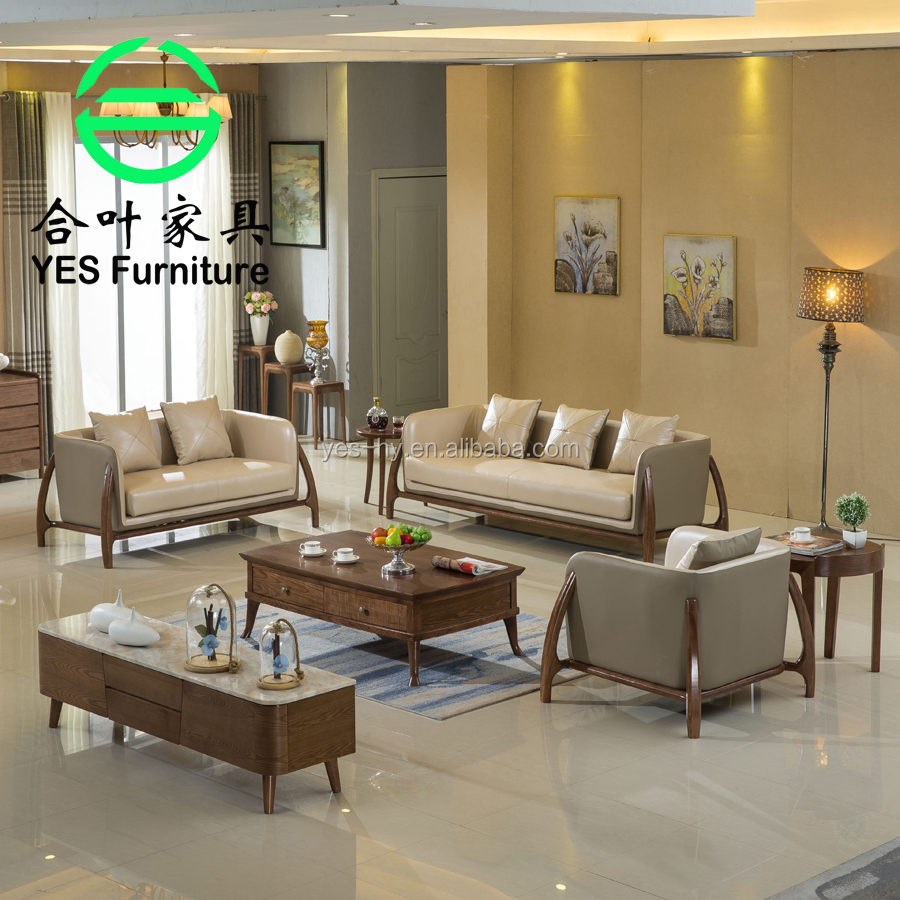 Hotel project, solid wood leather sofa, living room <strong>furniture</strong> 715