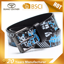 Custom Top Quality Printed Blue Child Belt, Pu Leather Belt For Kids