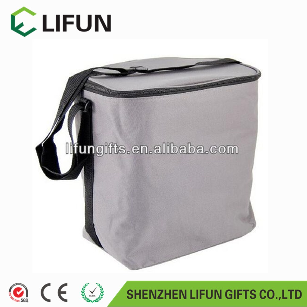 2017 Promotional Medium Cooler Bag in Grey (9 Litre) for picnic,office.,rectangular cooler bag