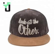 High Quality Custom 3D Embroidery Corduroy <strong>Flat</strong> Leather Brim 6 Panel Snapback Cap