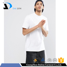 Daijun oem 65%cotton35%polyester short sleeve o neck 200g hem slit high quality 100 cotton white t shirt custom