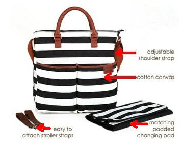 black and white stripe waterproof polyester nappy bag with leather handle, roomy and multi-fuctional