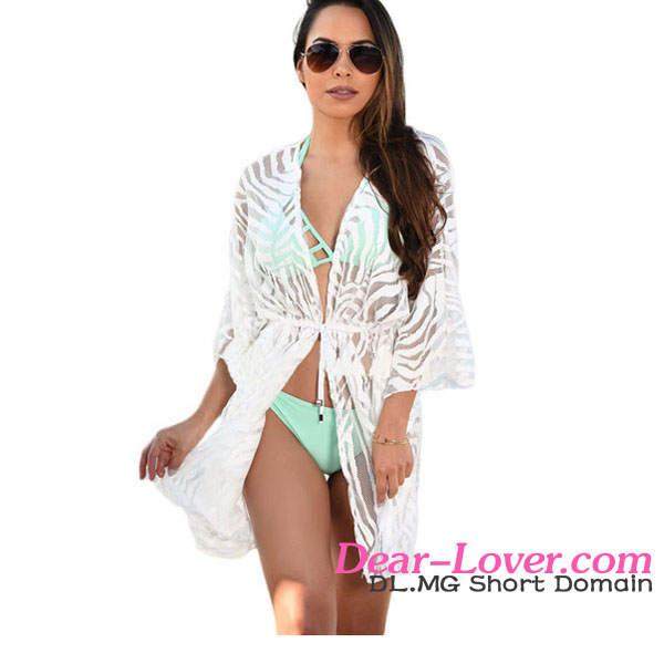 White Animal Print Bathing Suit Cover Ups Hot Sex Young Girl Beachwear Photo