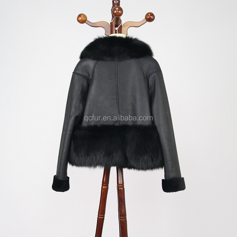 QC8024 geniune leather jacket with real fox fur collar trim