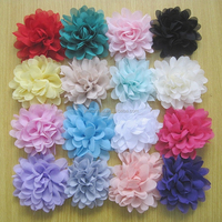 "Handmade Vingate 4"" Solid Chiffon Puff Flower 16 colors In stock wholesale chiffon hair flower"