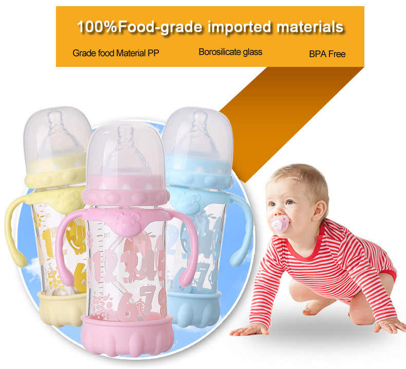 High Quality BPA Free Silicone Glass Bottle Baby Feeding