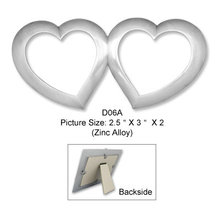 Hot sale White double heart metal love theme photo frame for wedding