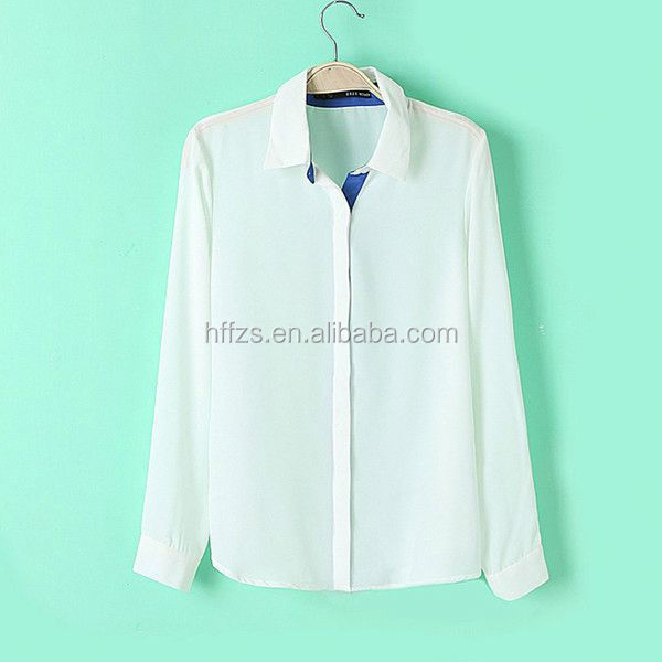 HFR-T588 summer fashion color matching turn down collar long sleeve sex woman top 2014