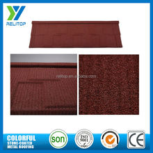 Low price galvalume fade proof color stone coated metal roof tile