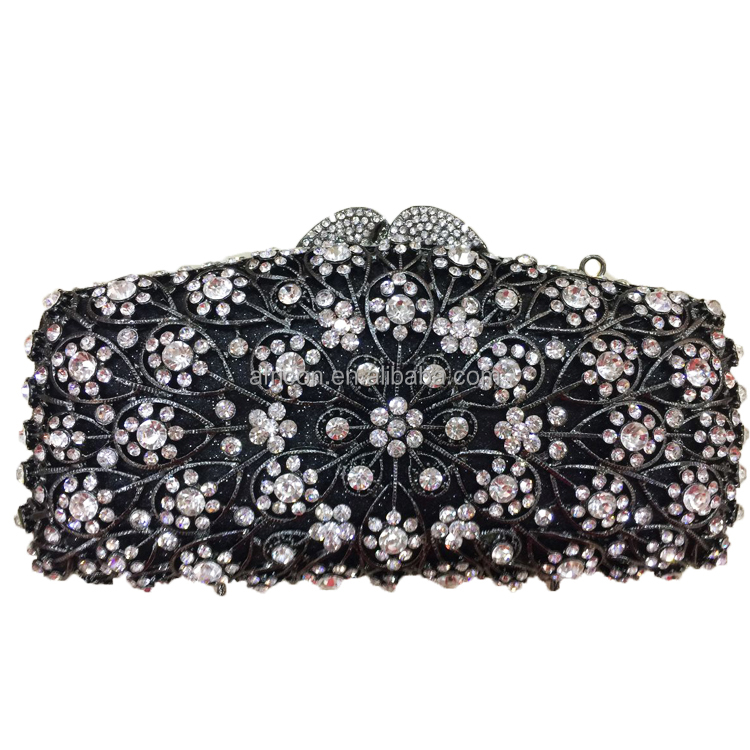 Queency 2017 Spring Style Fashion Designer Austrian Evening Crystal Clutches Hand Bags in Black