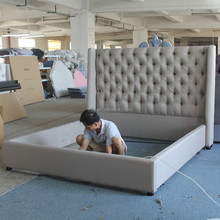 Luxury king size fabric bed of modern style furniture for noble